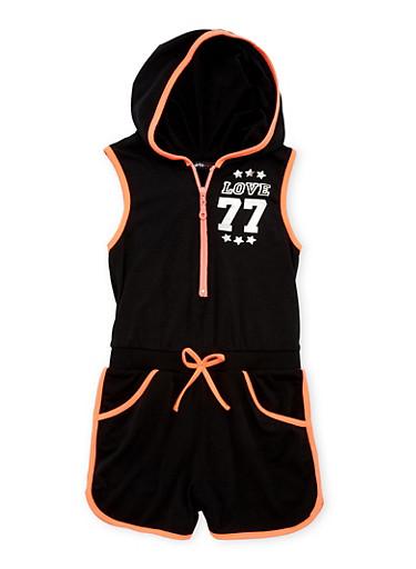 Girls 7-16 Sleeveless Hooded Graphic Zip Romper,BLACK,large