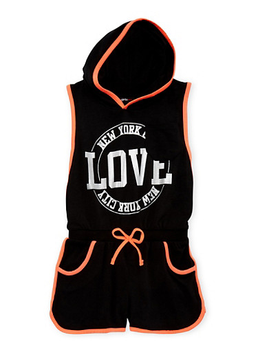 Girls 4-16 Hooded Love NYC Graphic Romper,BLACK,large