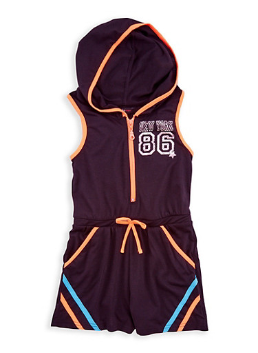 Girls 7-16 Hooded New York Graphic Romper,BLK/NORG,large