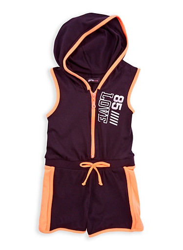 Girls 7-16 Love Graphic Zip Up Romper,BLK/NORG,large