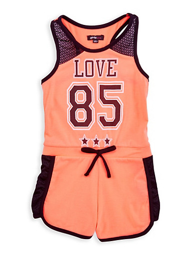 Girls 7-16 Love Graphic Contrast Trim Romper,NCORL/BLK,large