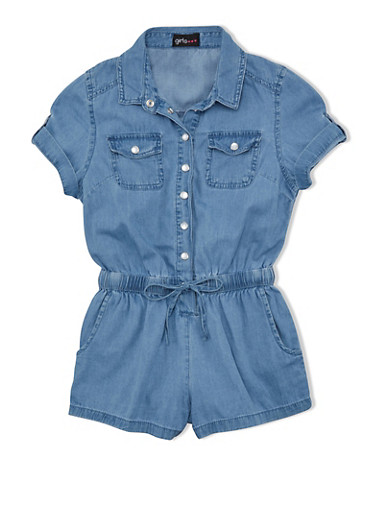 Girls 7-16 Short Sleeve Denim Button Up Romper,DENIM,large