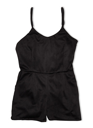 Girls 7-16 Faux Suede Romper with Pockets,BLACK,large