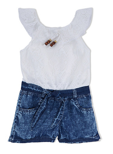 Girls 4-16 Ruffled Crochet and Denim Romper with Beaded Tie,IVORY,large