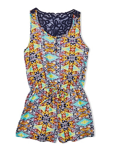 Girls 7-16 Tribal Print Romper With Crochet Racerback,BLUE,large