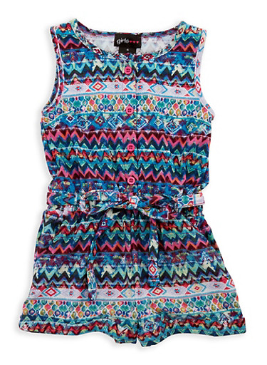 Girls 7-16 Mixed Print Belted Romper,TURQUOISE,large