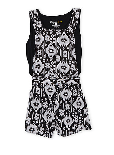 Girls 7-12 Printed Romper and T Shirt Set,BLACK/WHITE,large