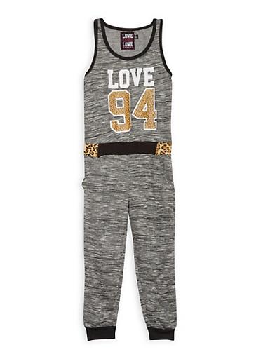 Girls 7-16 Love Graphic Space Dye Jumpsuit,BLACK,large
