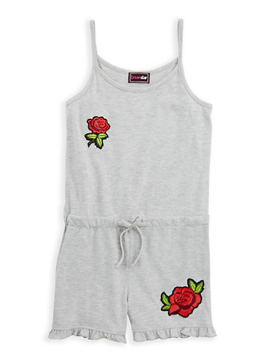 Girls 7-16 Rose Patch Romper,HEATHER,large