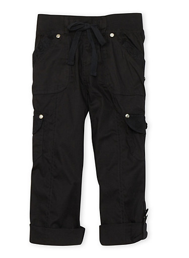 Girls 4-6x Capri Cargo Pants with Lace Pocket Details,BLACK,large