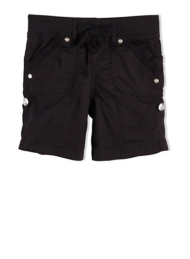 Girls 4-6x Drawstring Shorts with Lace Trim and Crystal Buttons,BLACK,large