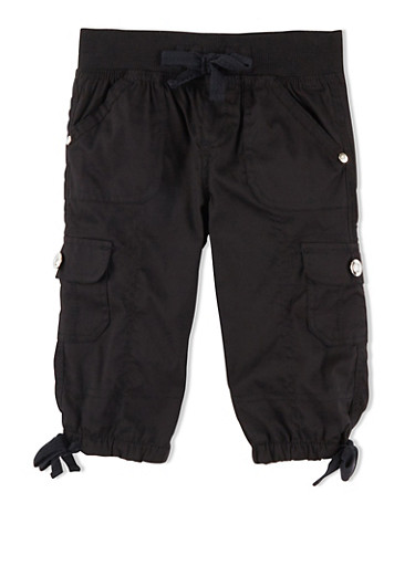 Girls 4-6x Cargo Shorts with Faux Rhinestone Buttons,BLACK,large