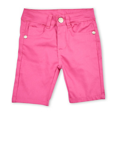 Girls 4-6x Pink Twill Bermuda Shorts,PINK S,large