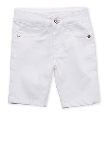 Girls 4-6x White Twill Bermuda Shorts,WHITE,large