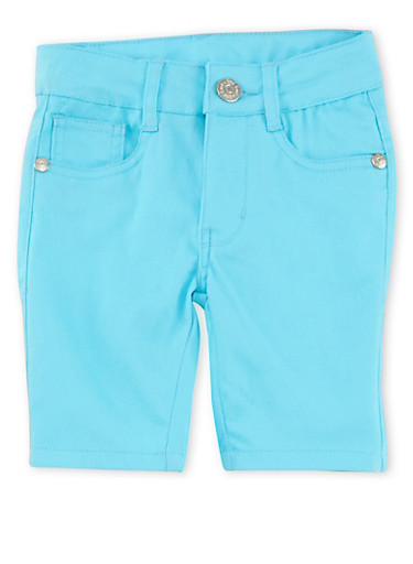Girls 2T-6x Solid Twill Bermuda Shorts,TURQUOISE,large