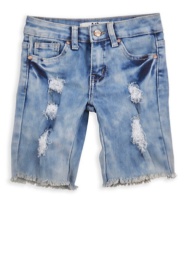 Girls 4-6x Frayed Denim Bermuda Shorts,LIGHT WASH,large