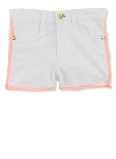 Girls 4-6x Kensie Solid Shorts with Pom Pom Trim,WHITE,large