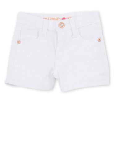 Girls 4-6x Limited Too White Twill Shorts,WHITE,large