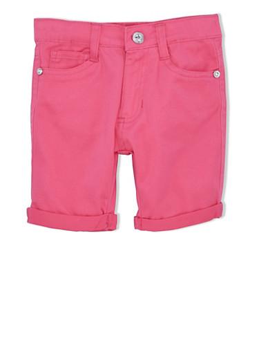 Girls 4-6x Twill Bermuda Shorts with Rolled Cuffs,FUCHSIA,large