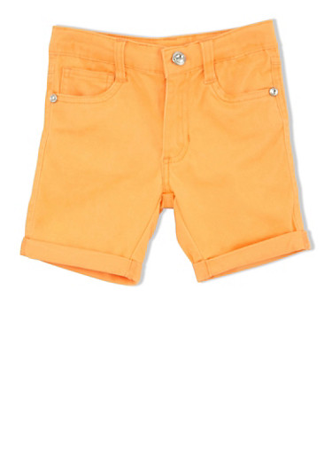 Girls 4-6x Twill Bermuda Shorts with Rolled Cuffs,ORANGE,large