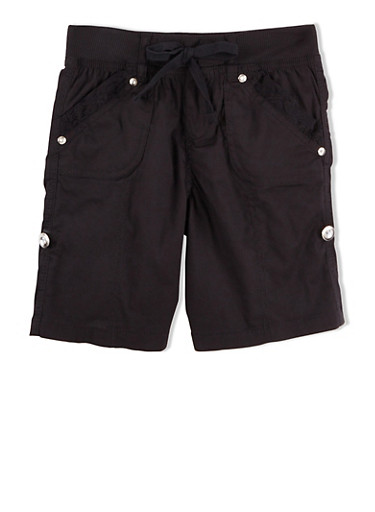 Girls 7-12 Poplin Shorts with Lace Trim and Rolled Cuffs,BLACK,large