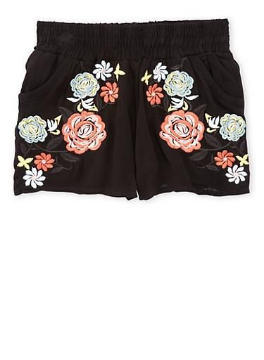 Girls 7-16 Floral Embroidered Crinkle Knit Smock Waist Shorts,BLACK,large