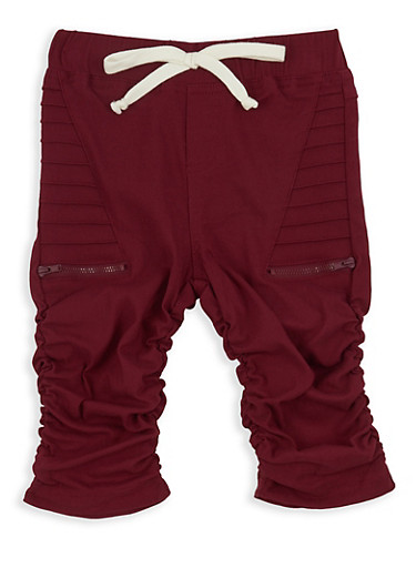 Girls 7-16 Ruched Hyperstretch Moto Bermuda Shorts,RED,large