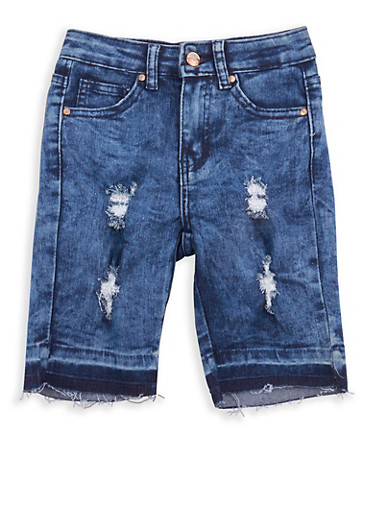 Girls 7-16 Acid Wash Denim Bermuda Shorts,MEDIUM WASH,large