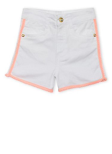 Girls 7-16 Kensie Pom Pom Trim Twill Shorts,WHITE,large