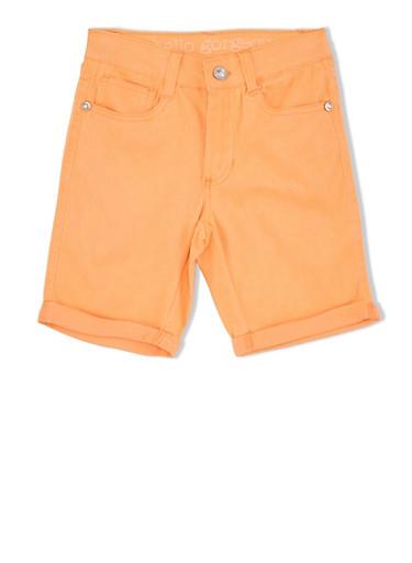 Girls 7-16 Twill Bermuda Shorts with Rolled Hems,ORANGE,large