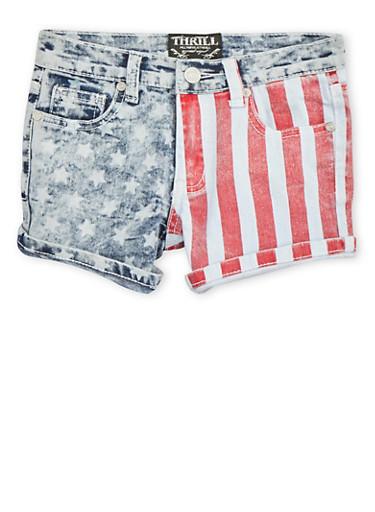 Girls 7-16 Denim Shorts with Flag Print,DENIM,large