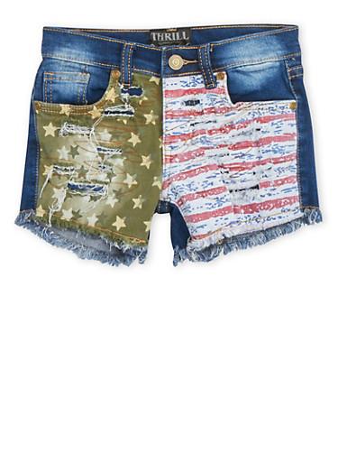 Girls 7-16 Frayed Denim Shorts with Stars and Stripes,DENIM,large