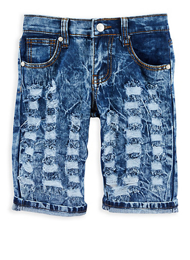 Girls 7-16 Distressed Acid Wash Bermuda Shorts,DARK WASH,large
