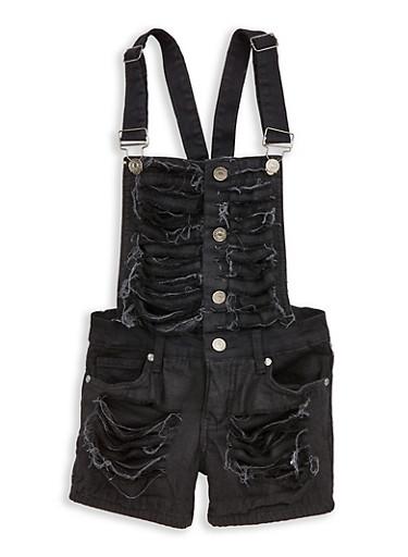 Girls 7-16 Destroyed Button Front Denim Shortalls,BLACK,large