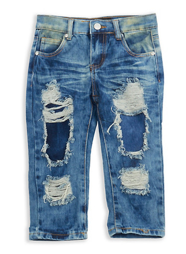 Girls 7-16 Destroyed Capri Jeans,DENIM,large