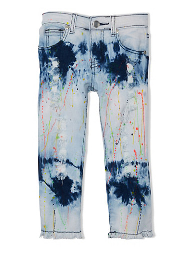 Girls 7-16 Distressed Denim Capri Jeans with Paint Splatter Accents,DENIM,large
