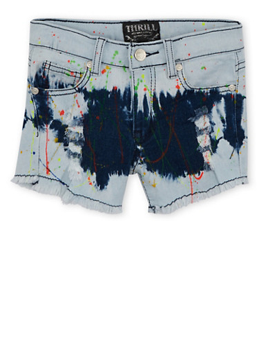 Girls 7-16 Frayed Jean Shorts in Paint Splatter,DENIM,large