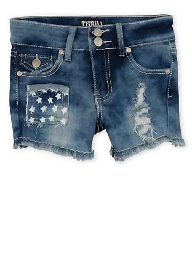 Girls 7-16 Denim Shorts with Stars and Stripes Pockets,DENIM,large