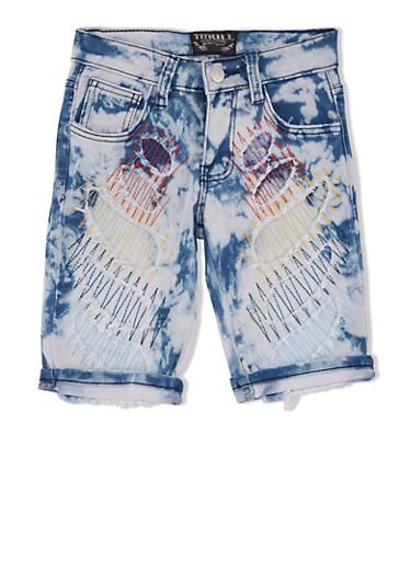 Girls 7-16 Stitched Patchwork Denim Bermuda Shorts,DENIM,large