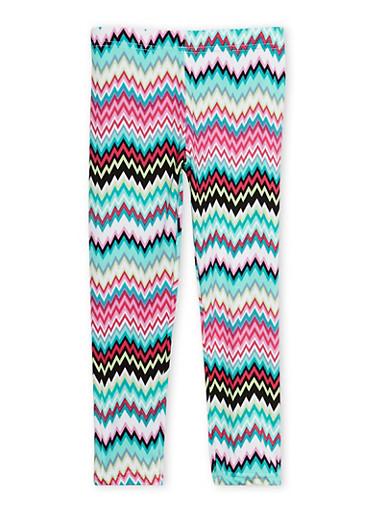 Girls 4-6x Chevron Print Leggings,FUCHSIA,large