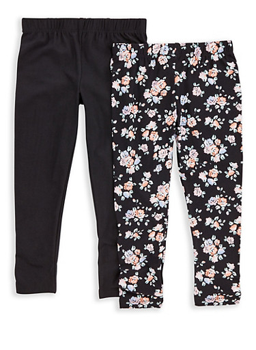 Girls 4-6x 2 Pack Floral and Solid Leggings,BLK/BLK,large