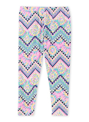 Girls 4-6x Brushed Leggings with Multicolored Chevron Print,WHITE/PINK,large