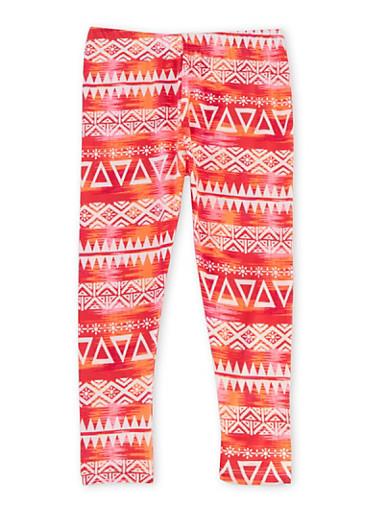 Girls 4-6x Aztec Print Leggings,FUCHSIA,large