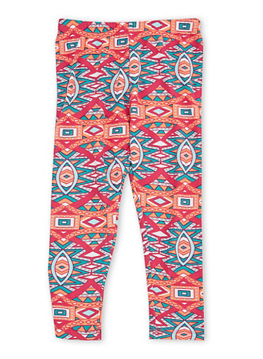 Girls 4-6x Leggings with Multicolored Print,FUCHSIA,large