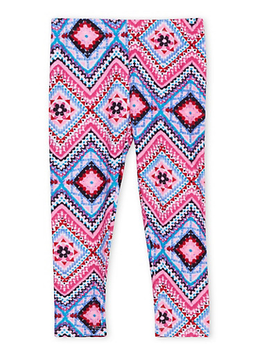Girls 4-6x Brushed Leggings in Multicolored Print,MULTI COLOR,large