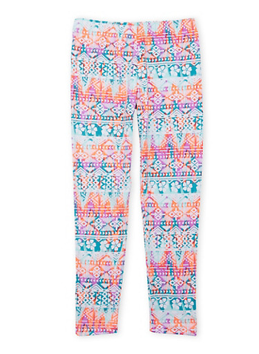 Girls 4-6x Leggings with Multicolored Aztec Print,TEAL,large