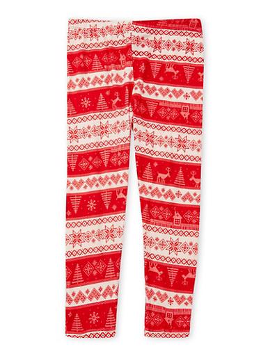 Girls 4-6x Soft Knit Striped Christmas Leggings,CREAM,large