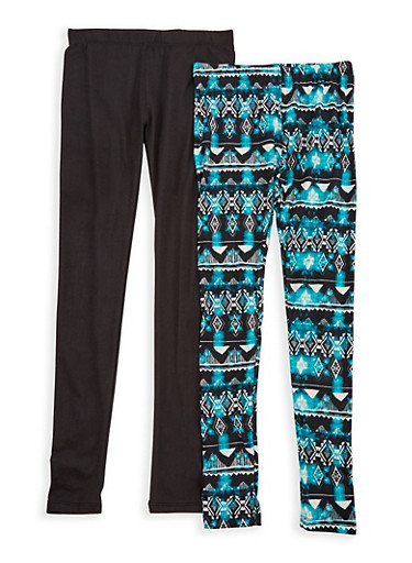 Girls 7-16 Set of 2 Leggings,TEAL,large