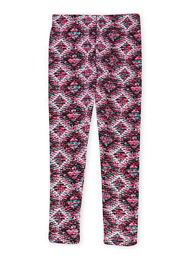 Girls 7-16 Leggings with Multicolored Print,PINK,large