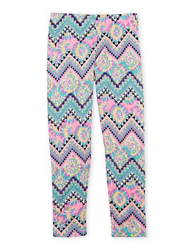 Girls 7-16 Printed Leggings in Brushed Knit,WHITE/PINK,large